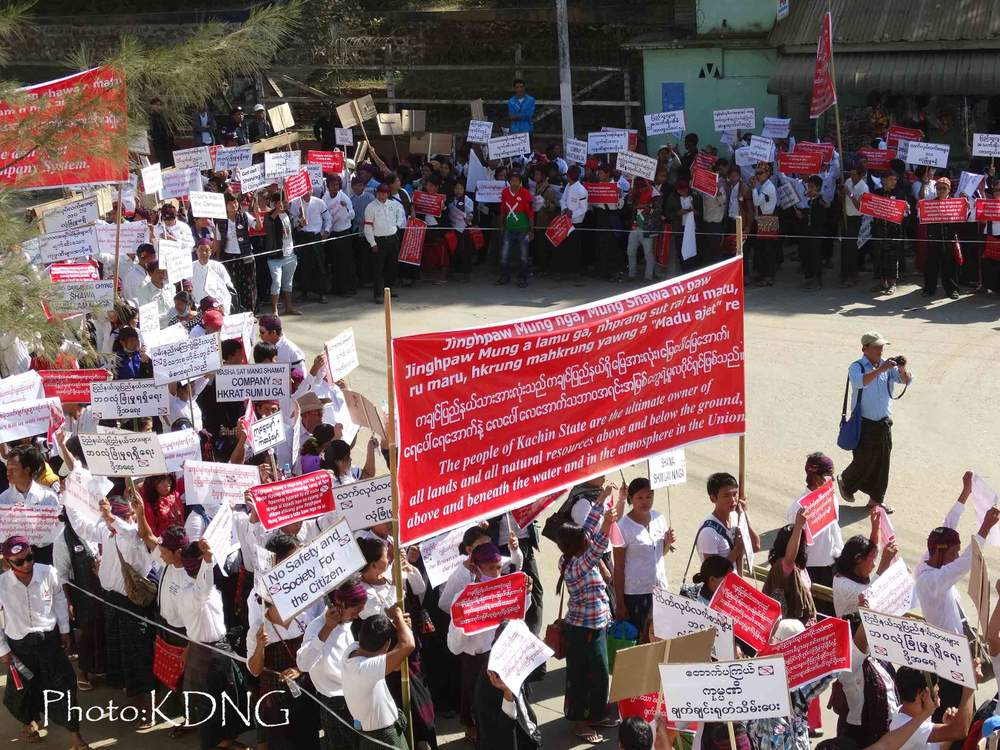 <em>Around 2000 people stage a protest against abuses by government-licensed mining companies.</em>